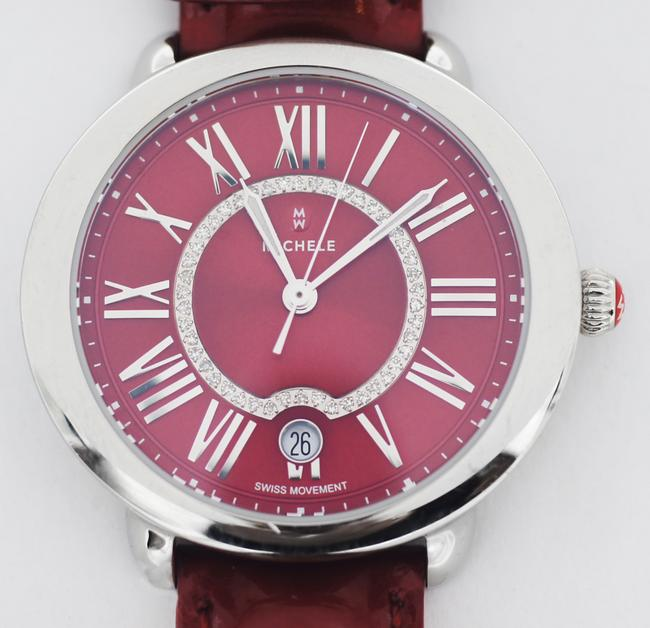 Michele Red Serein 16 Diamond Dial Stainless Steel Watch Michele Red Serein 16 Diamond Dial Stainless Steel Watch Image 3