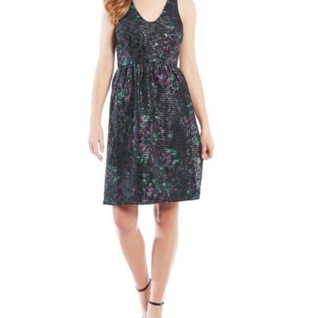 Item - Black Laser Cut Out Floral Sleeveless Flare Short Cocktail Dress Size 2 (XS)