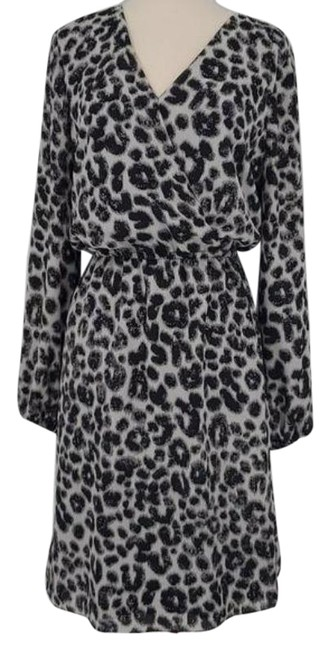 Item - Black and Grey Leopard Faux Wrap Long Sleeve Short Work/Office Dress Size 4 (S)