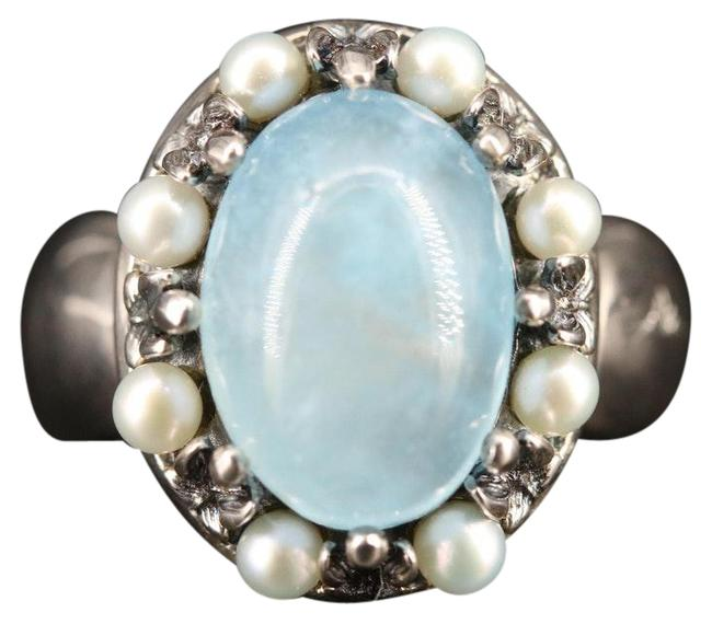 Item - Blue Beryl and Pearl 925 Sterling Silver Ring