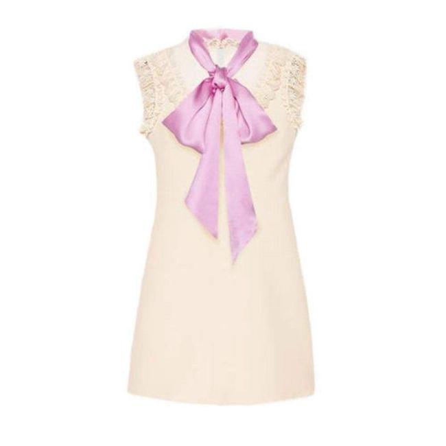 Item - Cream Wool & Silk Blend Mini with Pussycat Bow Short Cocktail Dress Size 4 (S)