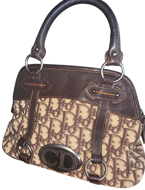 Item - Vintage Handbag Brown Leather Canvas Baguette