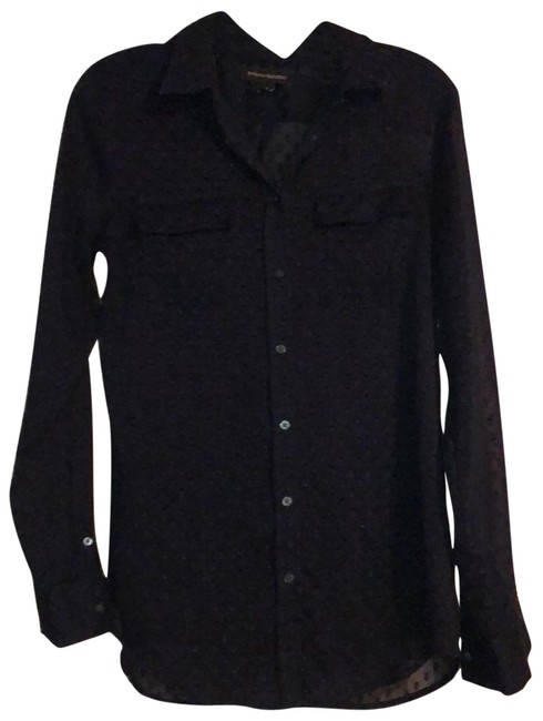 Item - Navy Blue Textured Button Up Blouse Size 6 (S)