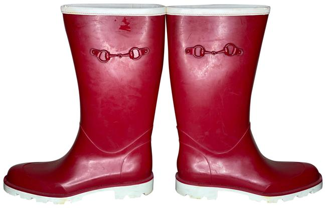 Item - Red White Rain Boots/Booties Size EU 40 (Approx. US 10) Regular (M, B)