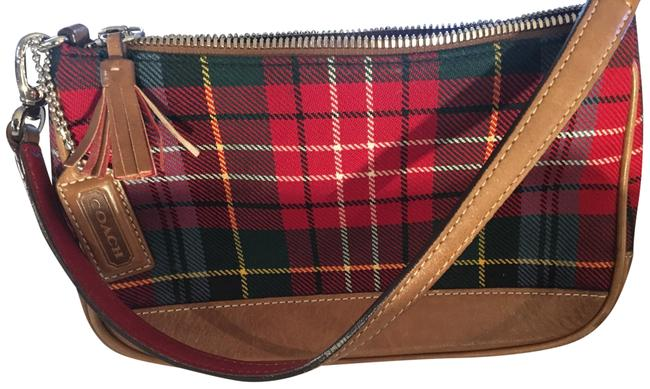 Coach Classic Plaid Mini Red and Green Leather Fabric Clutch Coach Classic Plaid Mini Red and Green Leather Fabric Clutch Image 1