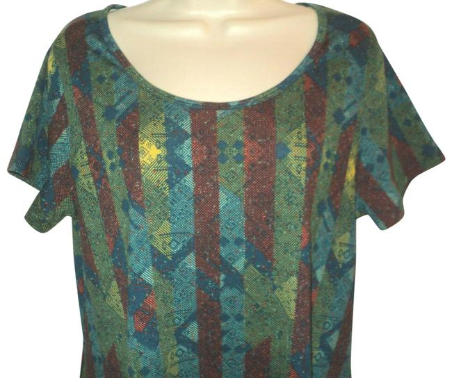 Item - Teal Green Red-rust Irma Style Geometric Short Sleeves Rounded Neckline Tunic Size 10 (M)