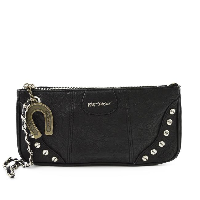 Item - #195-4 Black/ Silver Leather Clutch