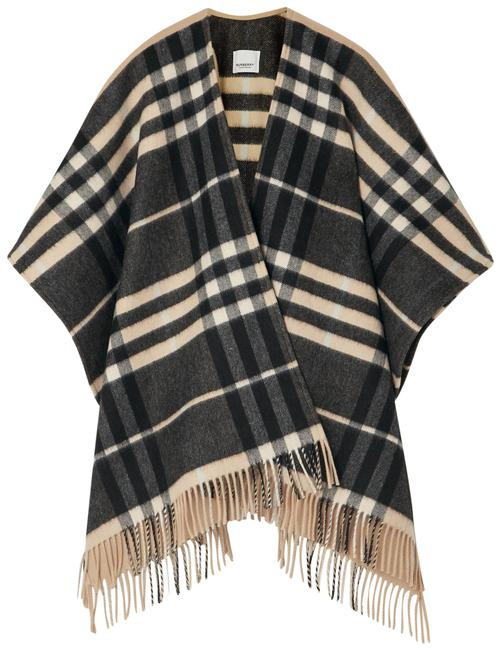Item - Sand Fringed Checked Cashmere and Merino Wool-blend Poncho/Cape Size 8 (M)