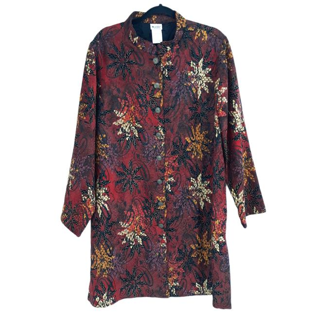Item - Red 80's Tapestry Jacquard Trench Floral Blazer Size 20 (Plus 1x)