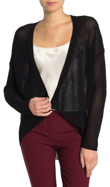 Item - Cotton Blend Weave Knit Open Front Cardigan Black Sweater