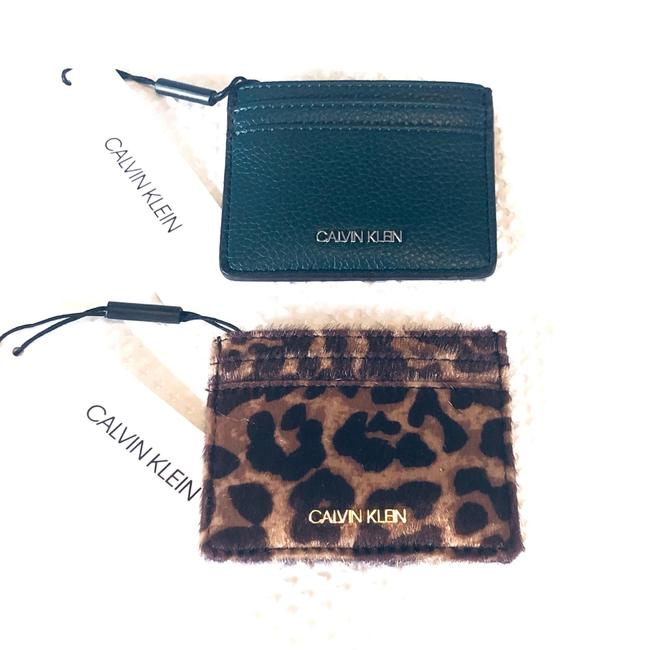 Item - Green and Tan Leopard Print Faux Leather Bundle Of 2 Card Cases Wallet