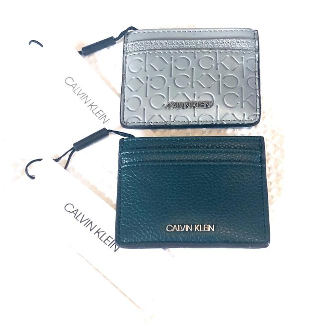 Item - Dark Green and Gray Faux Leather Bundle Of 2 Card Cases Wallet