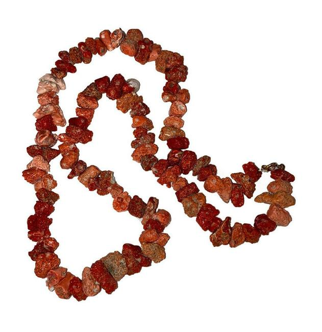 Item - Red Huge Natural Italian Mediterranean Coral Nugget Bead Necklace