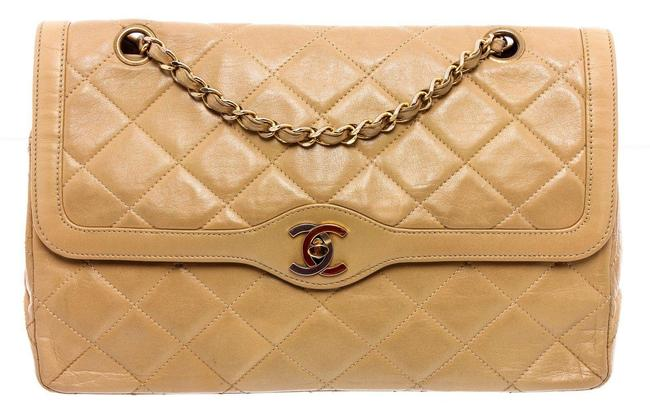 Item - Vintage Beige Classic Flap Quilted Leather Cc Double Wallet