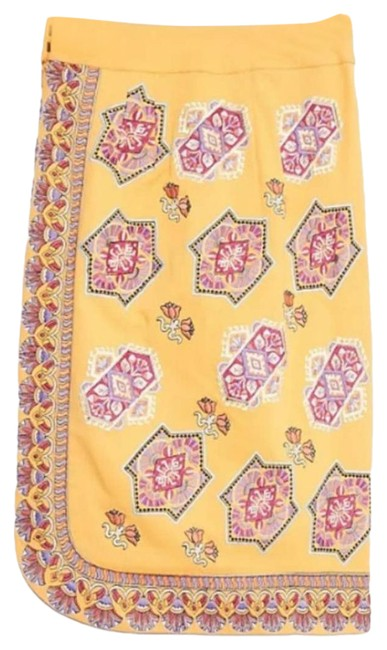 Item - Yellow New Krissy Embroidered Pencil Midi Skirt Size 6 (S, 28)