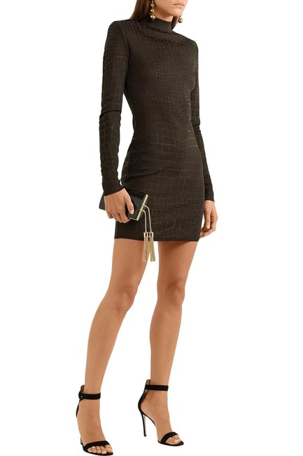 Item - Brown Effect Minidress Short Casual Dress Size 4 (S)