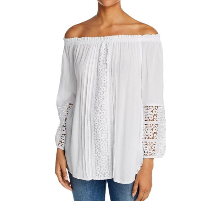 Item - White Crocheted Off-the-shoulder Tunic Size 16 (XL, Plus 0x)