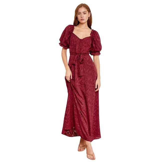 Item - Wine Forever Loving You Red Puff Sleeve Long Casual Maxi Dress Size 8 (M)