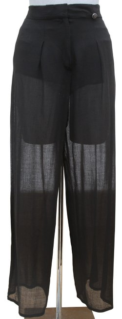 Item - Black Cc Logo High Rise Semi-sheer Wool Blend 38 Pants Size 6 (S, 28)