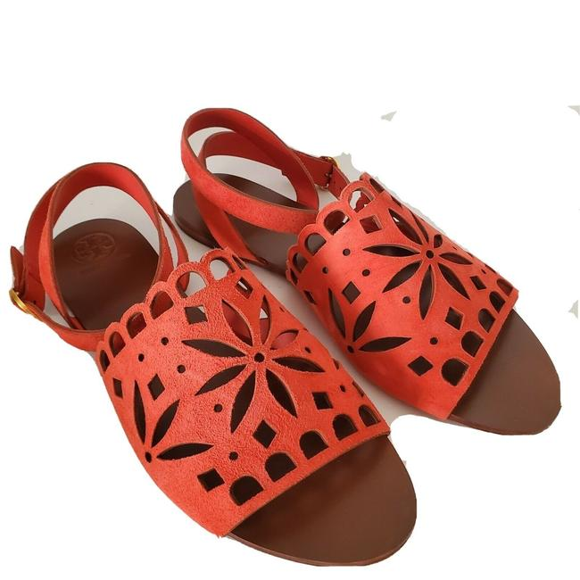 Item - Poppy Orange May Perforated Ankle Strap Sandals Size US 7.5 Regular (M, B)