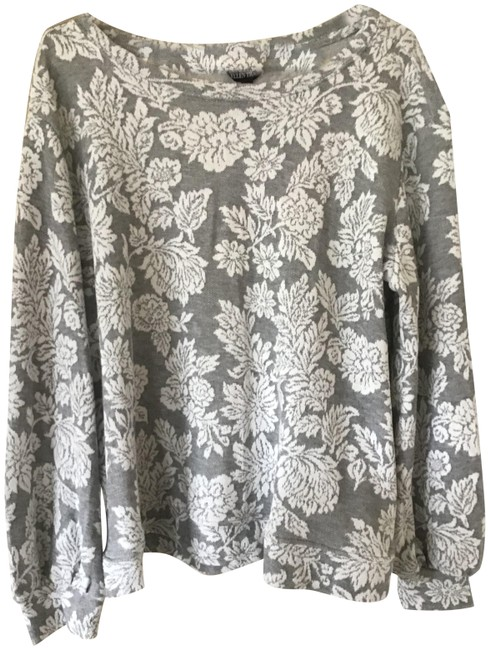 Item - Grey and White Classic Blouse Size 16 (XL, Plus 0x)