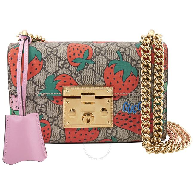 Item - Padlock Gg Strawberry Small Multi Color Canvas Shoulder Bag