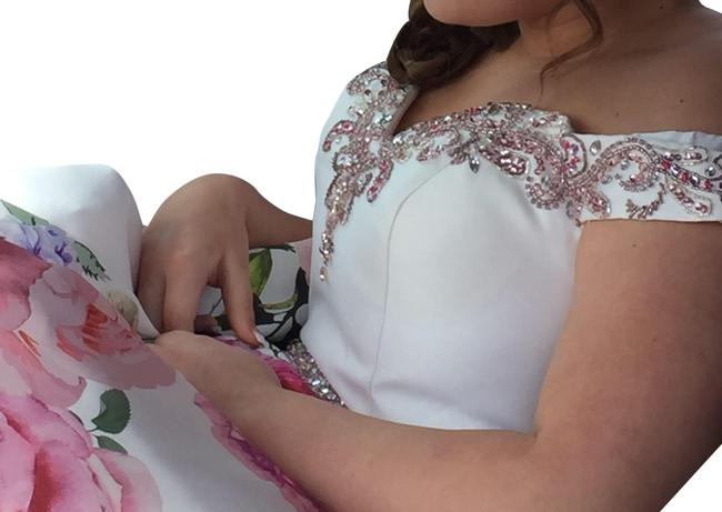 Item - White and Pink Long Formal Dress Size 12 (L)