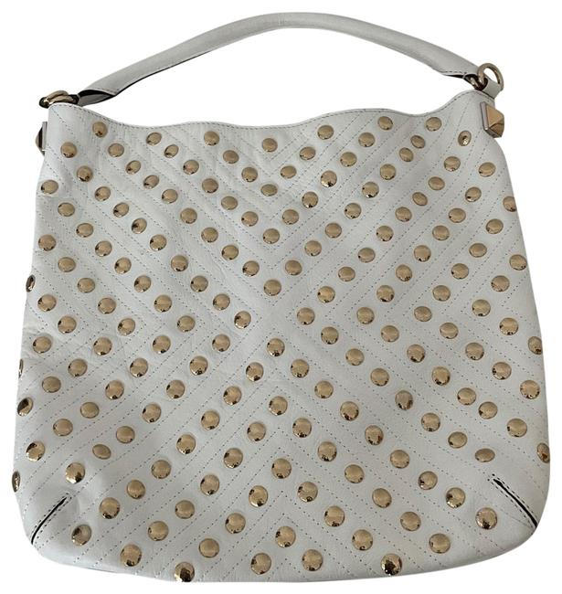 Item - Fringed White with Brass Studds Leather Hobo Bag