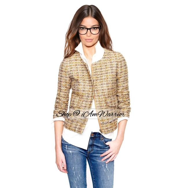 Item - Gold Silver Brown Black Gray Mustard Collection Tweed Blazer Size 4 (S)