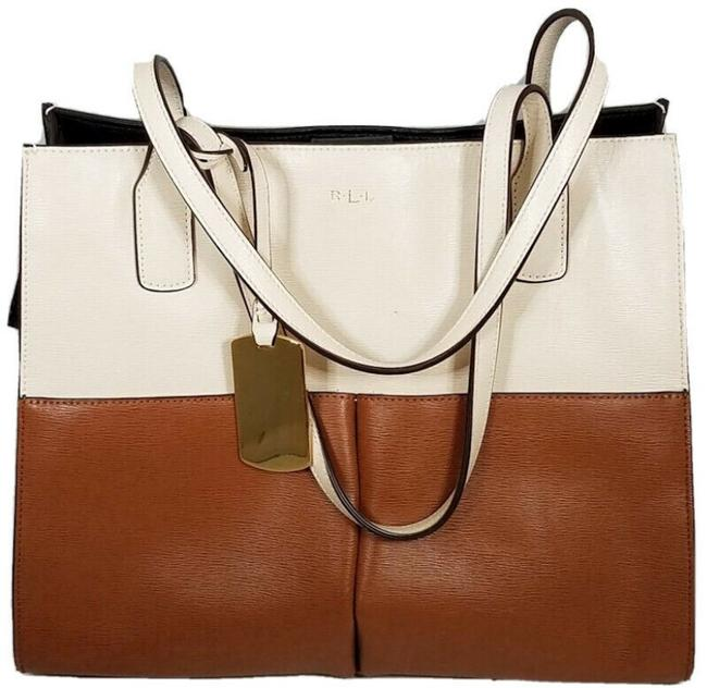 Item - Newbury Colorblock Shopper Brown Ivory Leather Tote