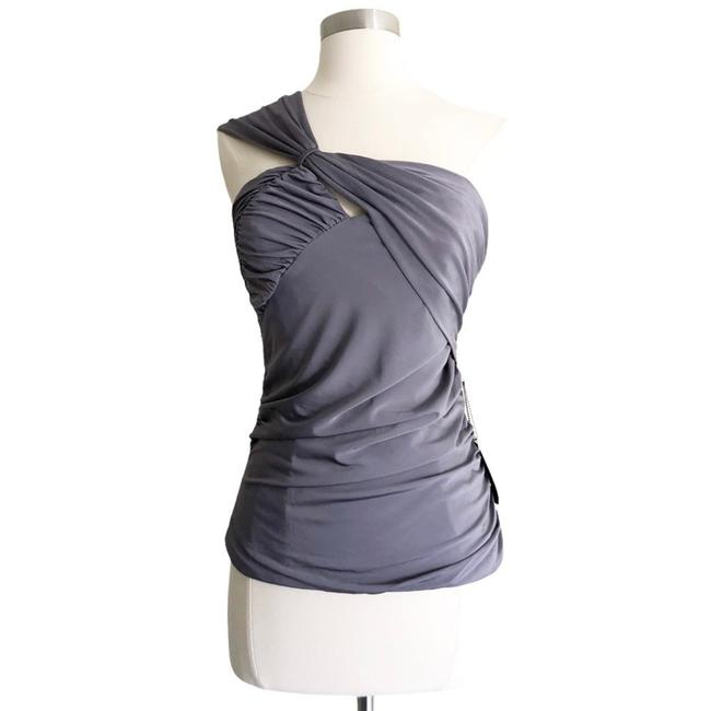 Item - Ruched One Shoulder Gray Top