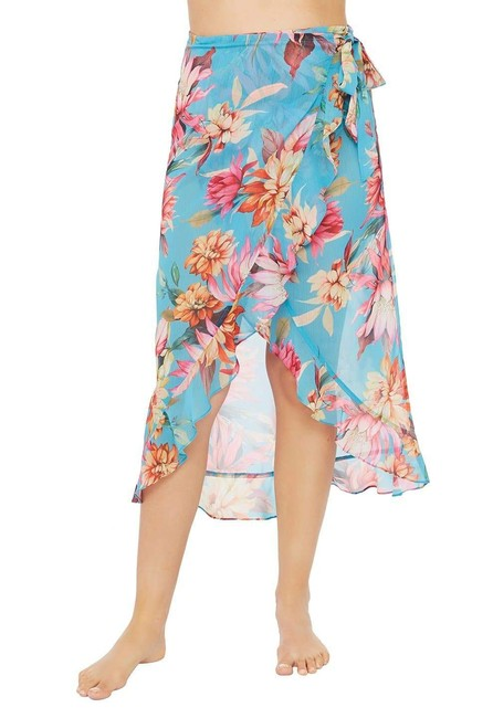 Item - Garden Social Poolside Blue Wrap Ruffle Pareo In Cover-up/Sarong Size 12 (L)