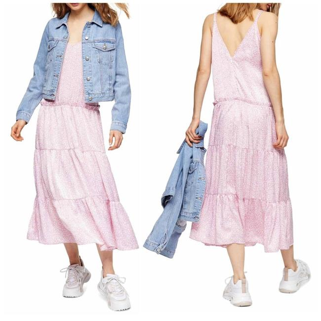 Topshop Pink Floral Print Tiered Satin Slipdress Mid-length Casual Maxi Dress Size 6 (S) Topshop Pink Floral Print Tiered Satin Slipdress Mid-length Casual Maxi Dress Size 6 (S) Image 1