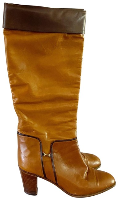 Item - Tan & Brown Vintage Two Tone Heeled Riding Tall Boots/Booties Size EU 36.5 (Approx. US 6.5) Regular (M, B)