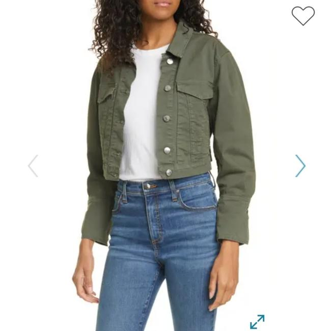 Item - Army Green Collared Crop Utility Jacket Size 2 (XS)