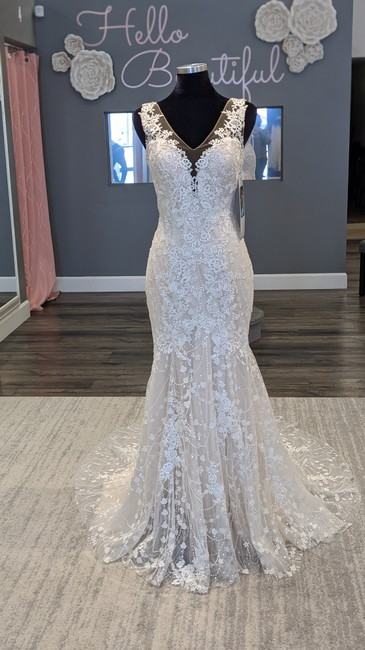 Item - Champagne/Nude/Ivory Sequined Tulle/ Floral 2408 Mandy Feminine Wedding Dress Size 10 (M)
