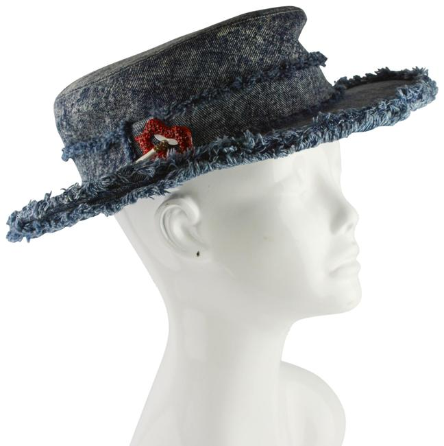 Item - Blue Red Denim with Lips Charm Hat
