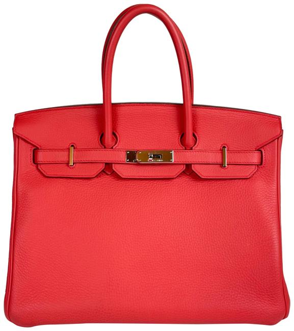 Item - Birkin 35 Bougainvilleas Red / Pink Clemence Leather Tote