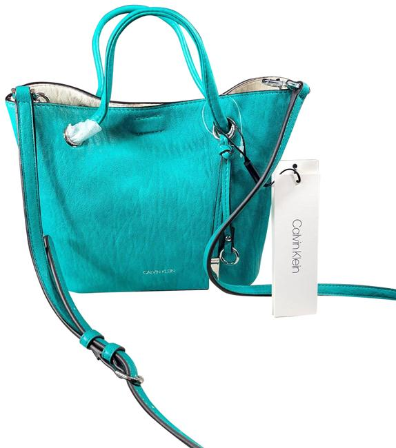 Item - Bucket Gabrianna Teal/White Reversible Purse Green Leather Cross Body Bag