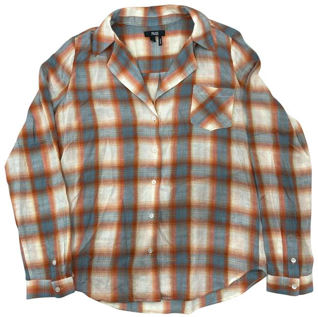 Item - Teals Coral Orange Cream Plaid Shirt Long Sleeve Super Comfortable Airy Button-down Top Size 4 (S)