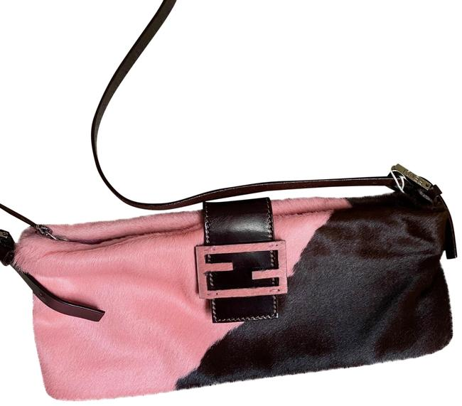 Item - Pony-style And Pink Brown Calfskin Leather Baguette