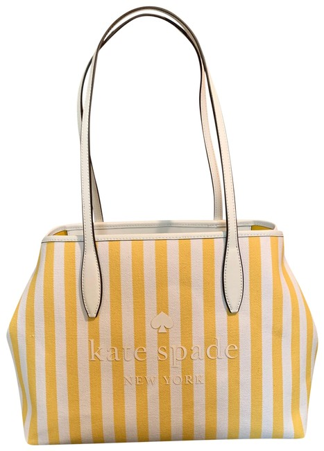 Item - Striped Yellow/White Canvas Tote