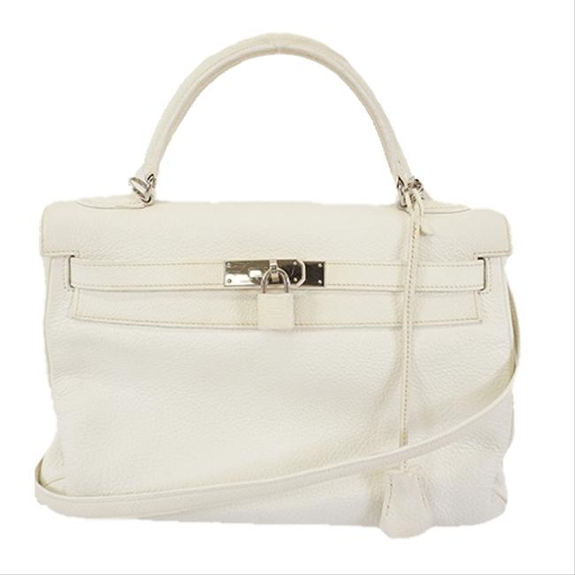Item - Kelly W 2way 32 Engraved Women's White Taurillon Clemence Leather Shoulder Bag