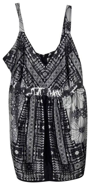 Item - Black Womens Sequins Sleeveless Pattern Small Blouse Size 6 (S)