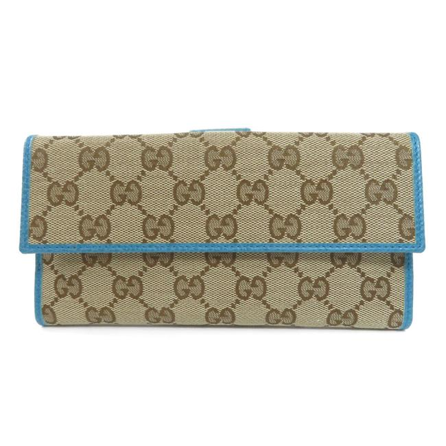 Item - Blue / Brown Long 231841 Gg Outlet Canvas Ladies Wallet