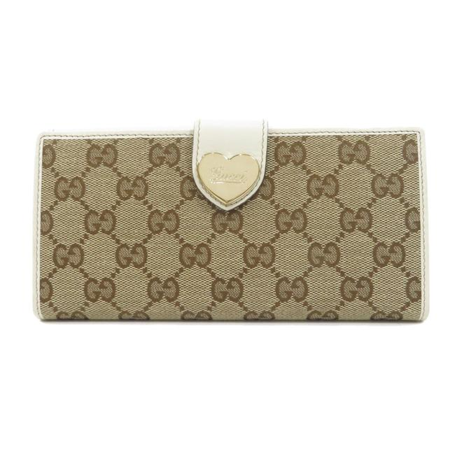 Item - Brown / White Long 203550 Gg Pattern Heart Plate Canvas Ladies Wallet