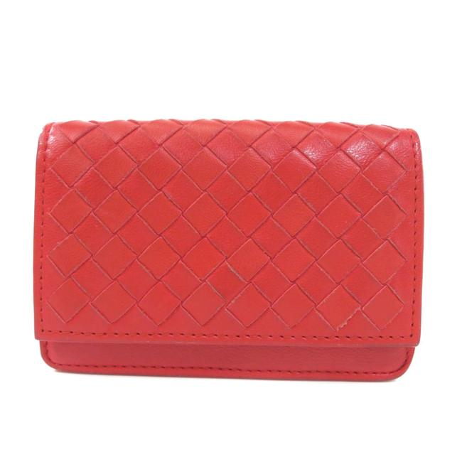 Item - Red Color Business Card Holder Intrecciato Case Leather Ladies Wallet