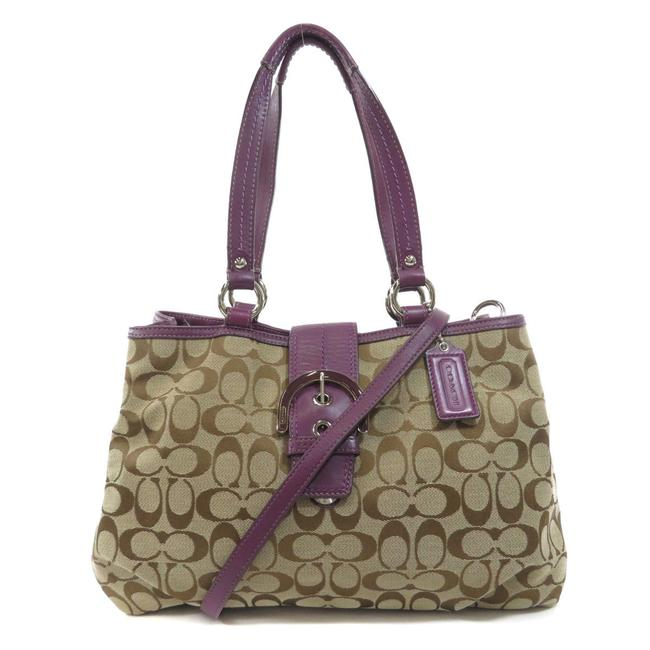 Item - Bag F17402 Signature 2way Ladies Brown / Purple Canvas Tote