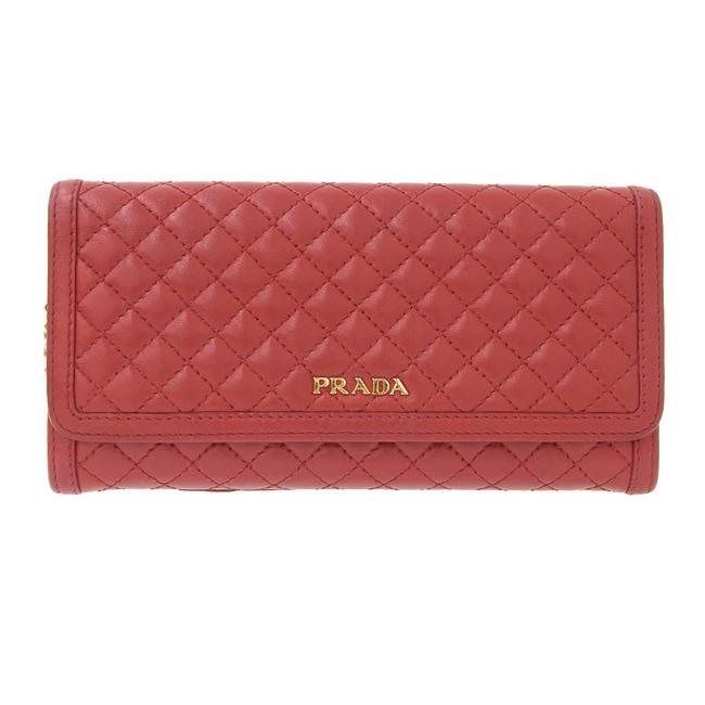 Item - Red Color Long Kilt Leather Gold Metal Fittings Wallet