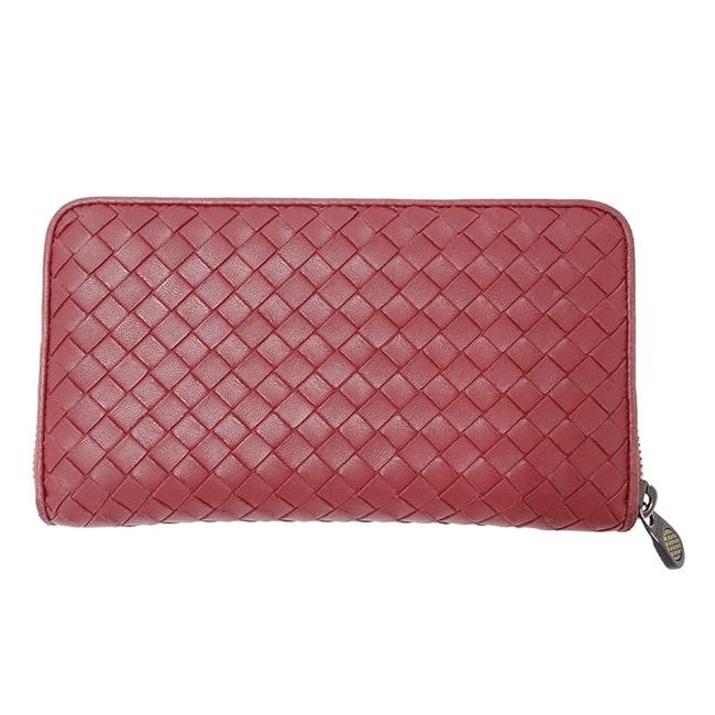 Item - Red Color Long Intrecciato Round Leather Wallet
